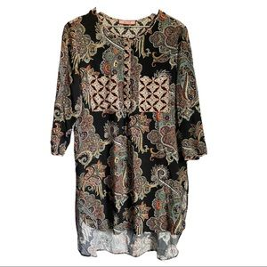 Women's Crew Neck Boho Tunic Size L